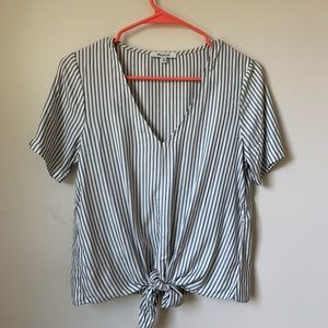 Madewell tie front top in stripe